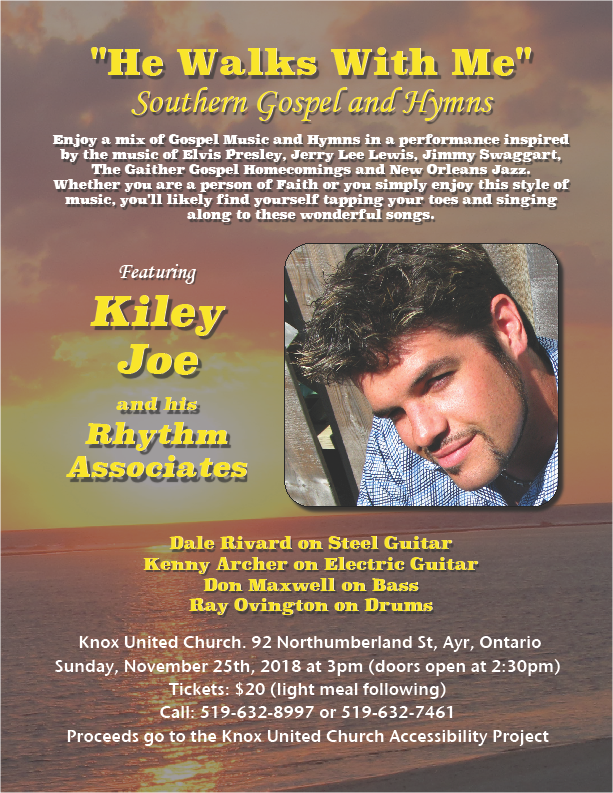 Kiley Joe Gospel Music Concert- November 25th 3pm – Knox United Church